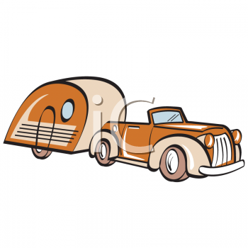 Vintage Car with a Tear Drop Style Camper.
