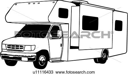 Clipart of , camper, mini, motorhome, recreation, recreational, rv.