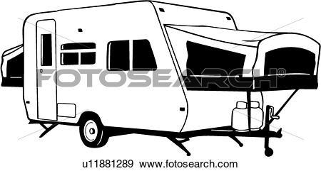 Clip Art of , camper, folding, recreation, recreational, rv.