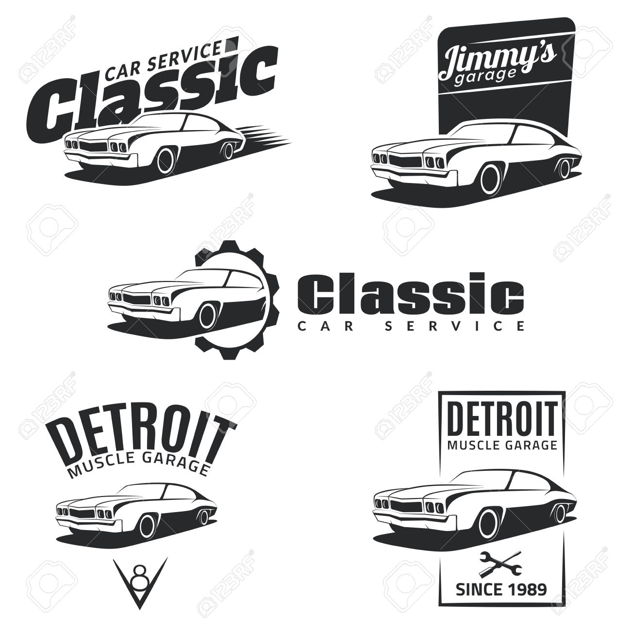 Set Of Classic Muscle Car Emblems, Badges And Icons. Service.