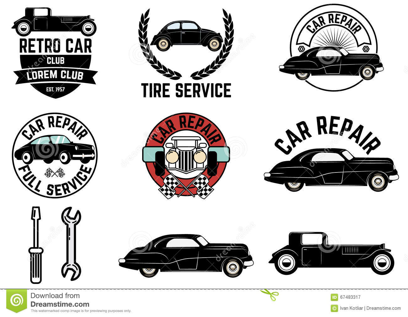 Set Of Retro Car Club Labels. Stock Vector.