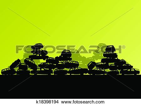 Clipart of Old used automobile cars metal scrapyard graveyard.