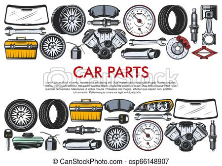 Vector tools and car spare parts.