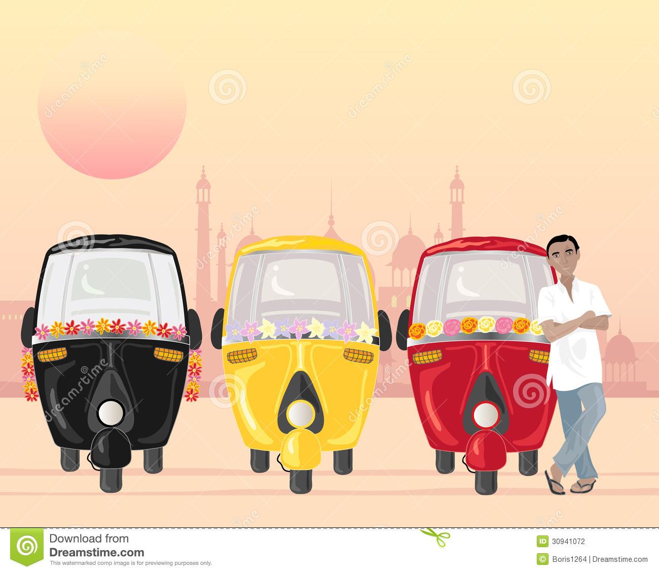 Auto Rickshaw Stock Illustrations.