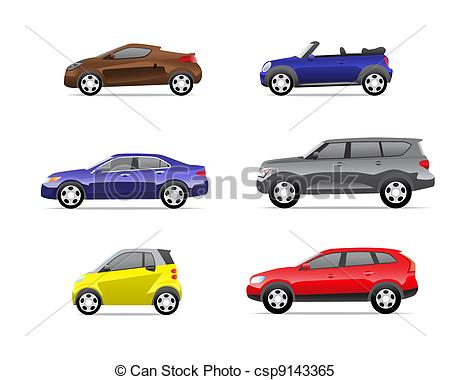 Clipart Vector of Cars icons set part 1.