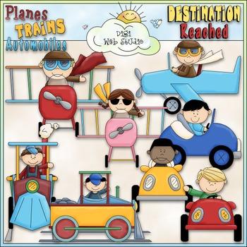 Planes, Trains & Autos Kids Clip Art.
