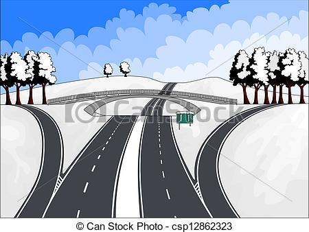 Illustrazioni vettoriali di autostrade, inverno, paesaggio.