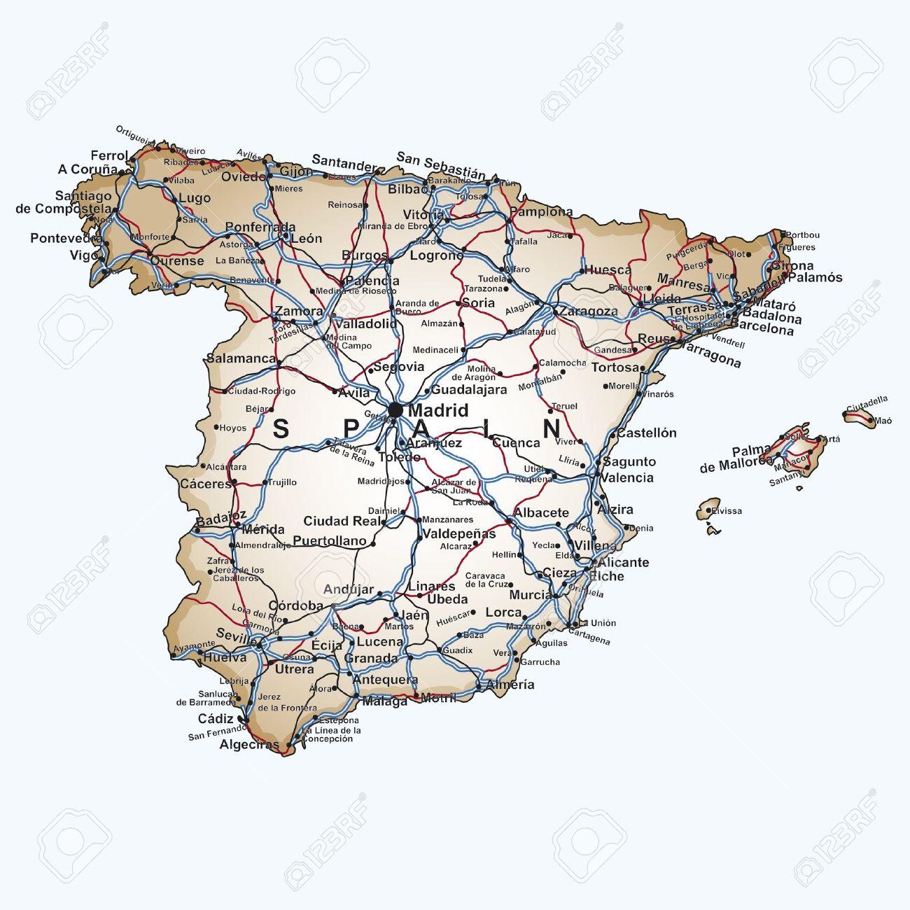 Carta Stradale Della Spagna Con Le Principali Città E Cittadine.