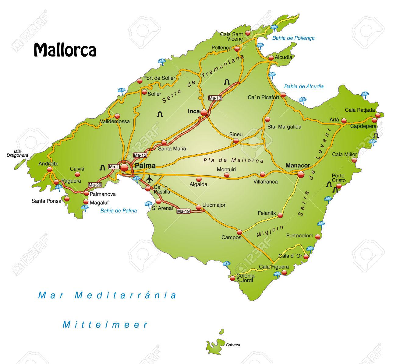 Mappa Di Maiorca Con Autostrade Clipart Royalty.