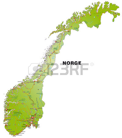 Cartina Della Norvegia Con Autostrade Clipart Royalty.