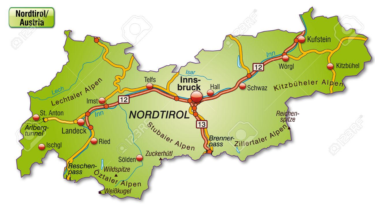 Mappa Del Tirolo Con Autostrade Clipart Royalty.