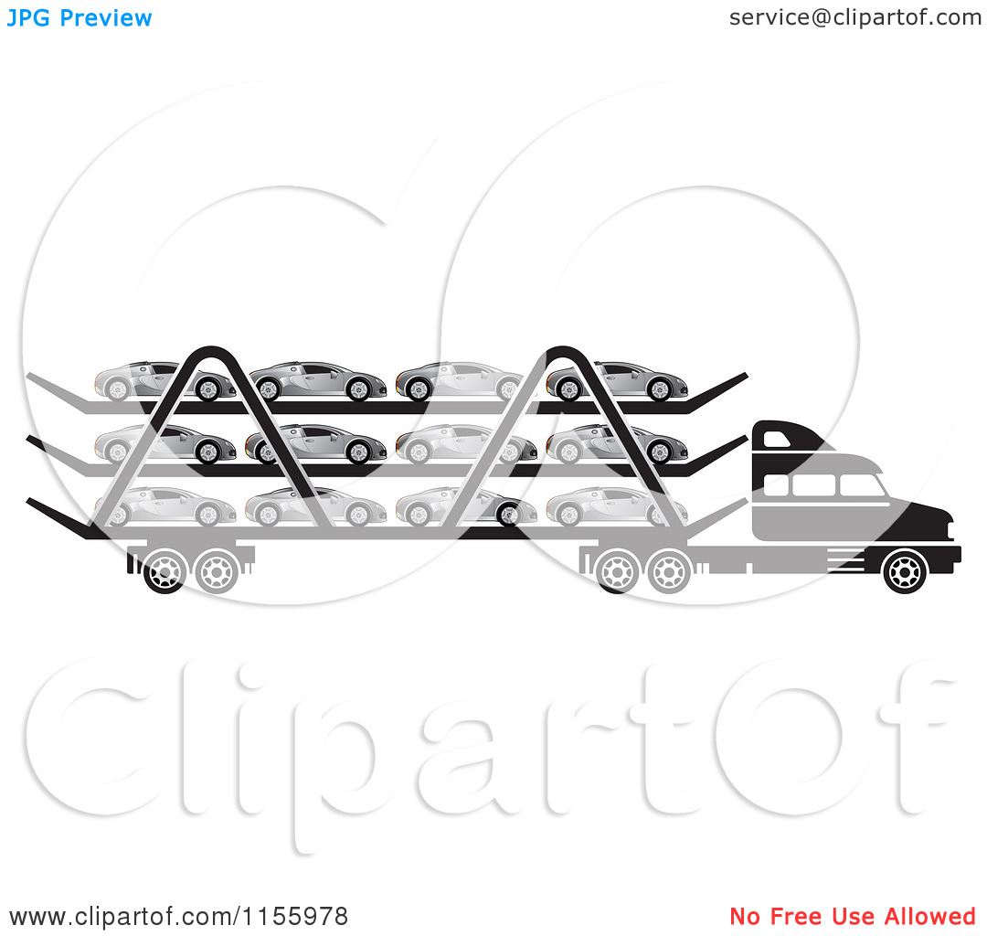 Clipart of a Black and White Big Rig Truck Transporting Cars.