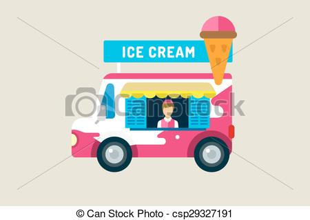 EPS Vectors of Ice cream car icon. Cold milk product, vanilla.
