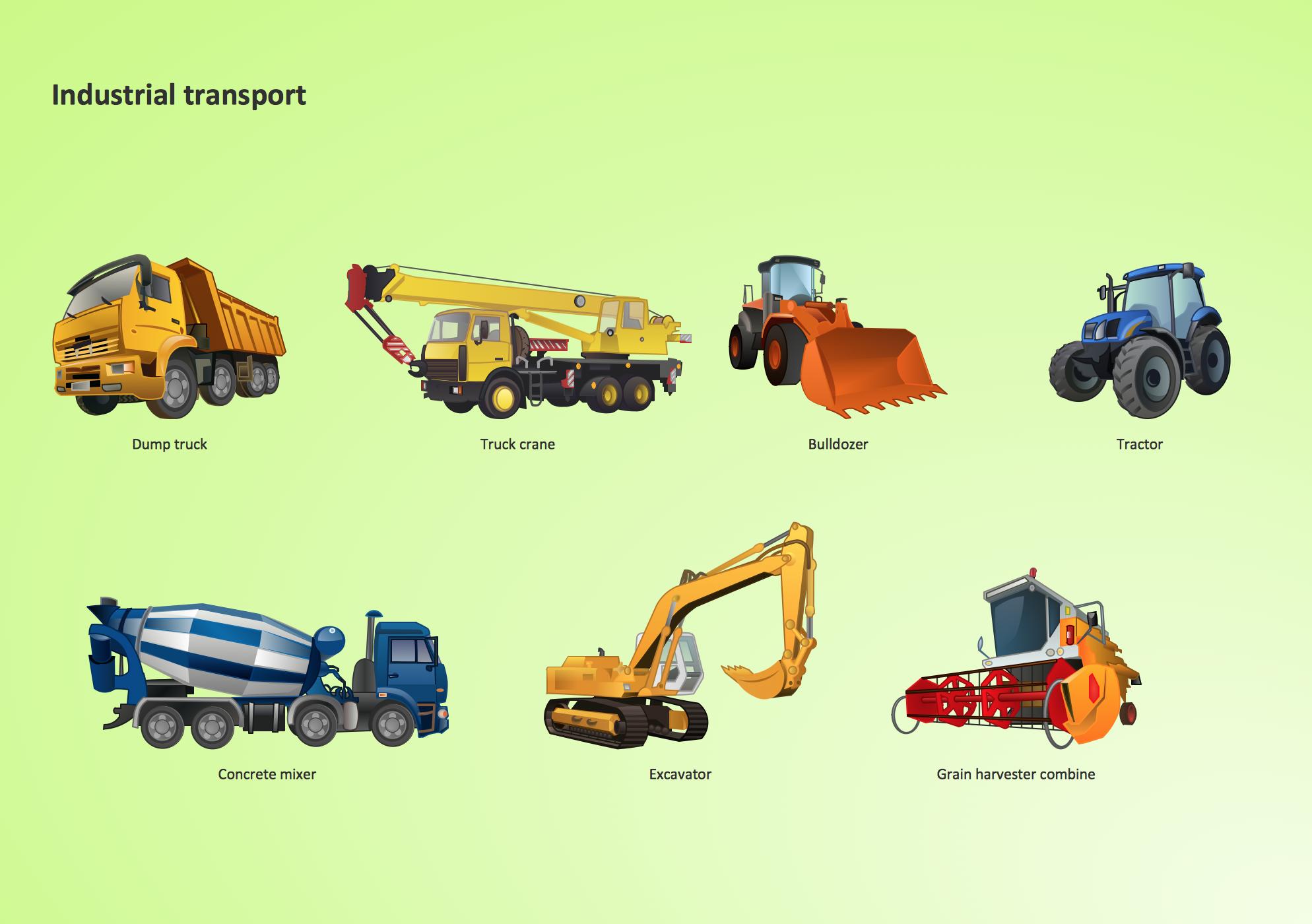 Road Transport Design Element. Transport illustrations.