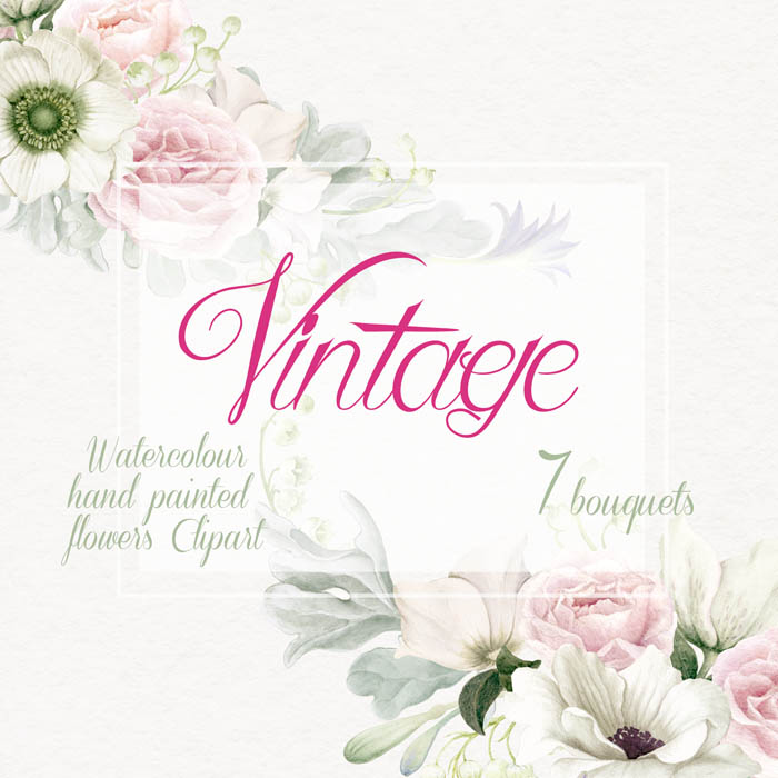 Flower Watercolor Clipart, Hand Painted Clip Art, Vintage Bouquets.