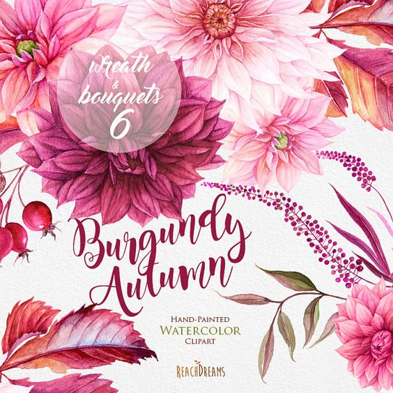 Dahlias Watercolor Wreath & Bouquets clipart, Burgundy Autumn.
