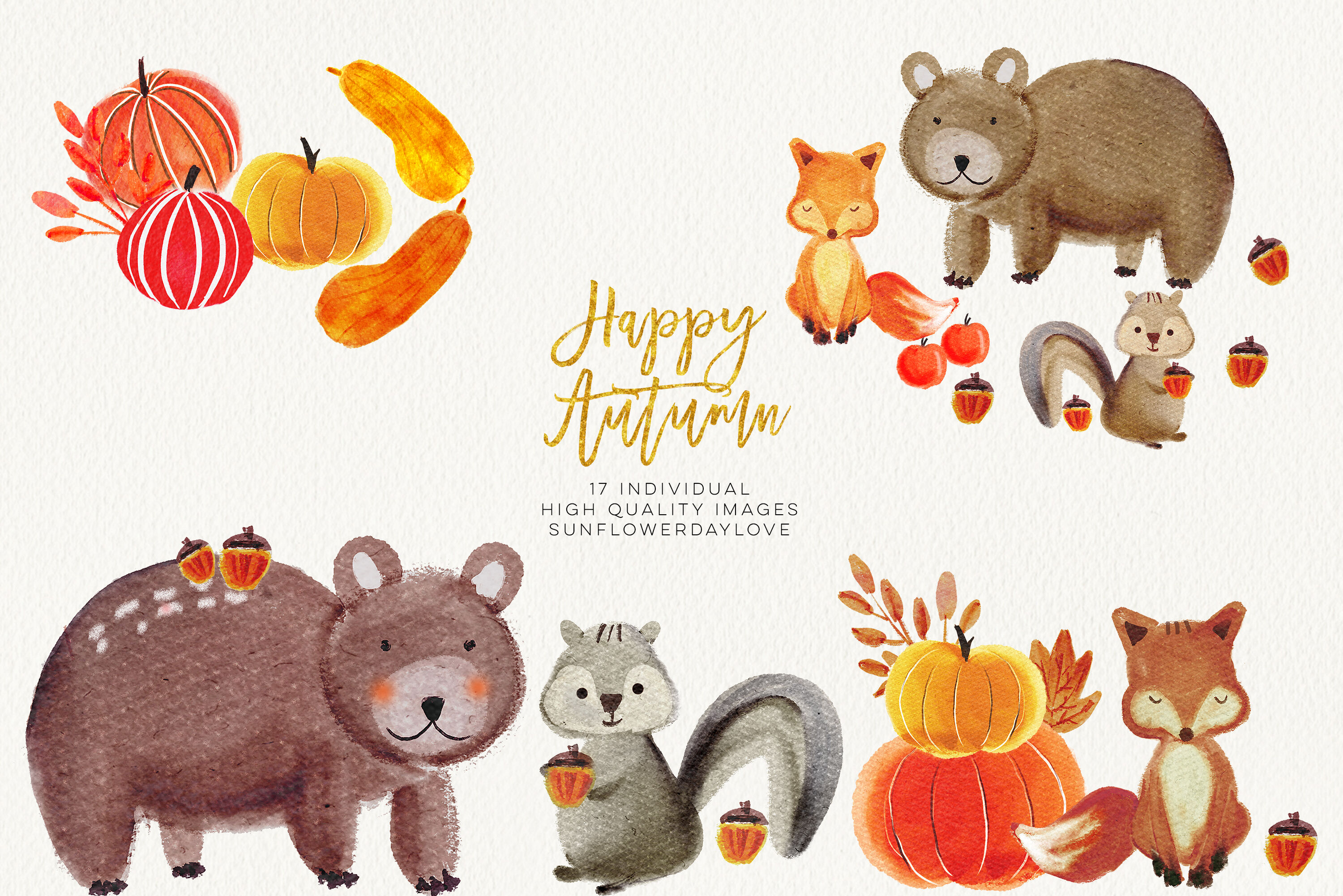 Watercolor forest animals clipart, autumn animal clip art By.
