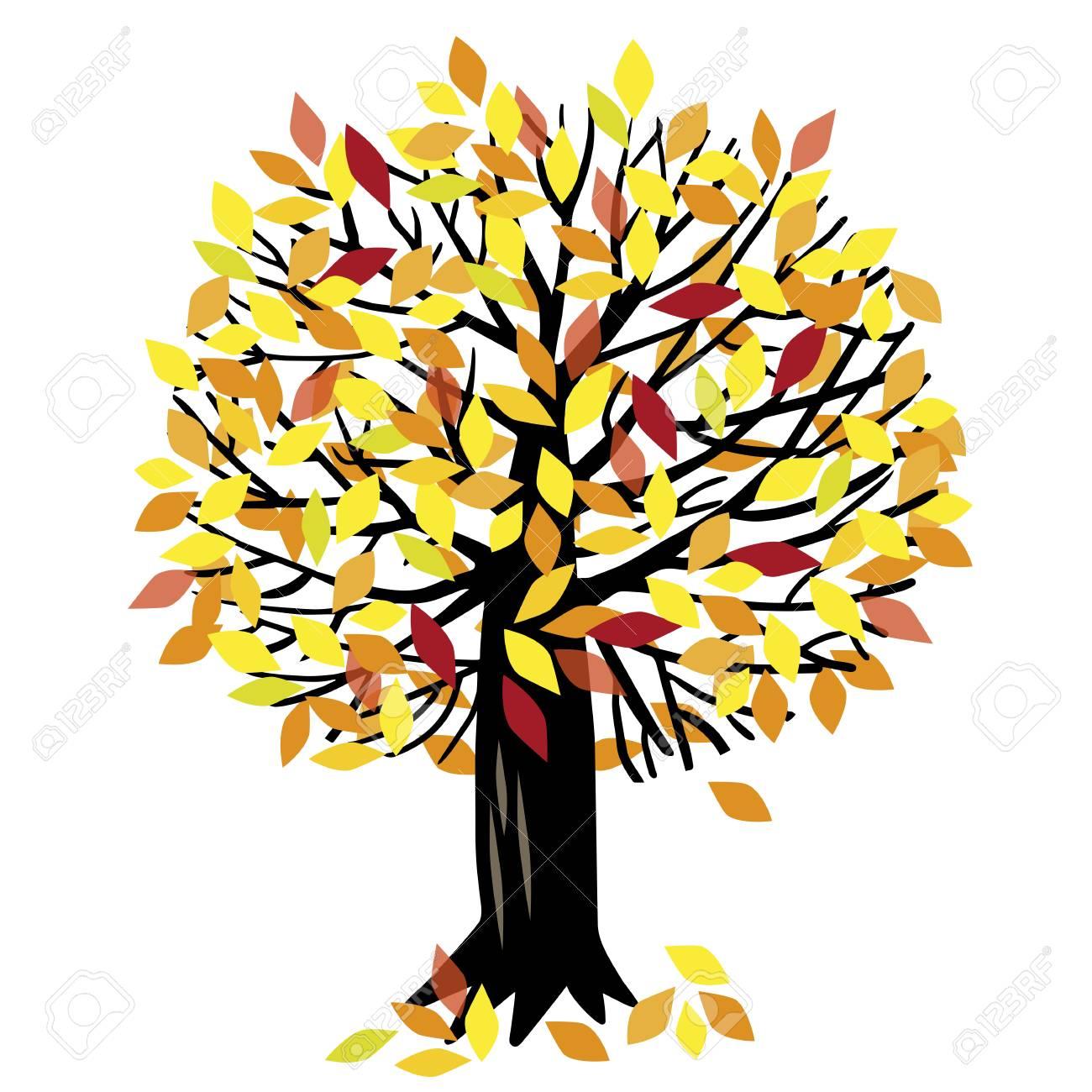 Vector illustration with autumn Apple tree or cherry tree.