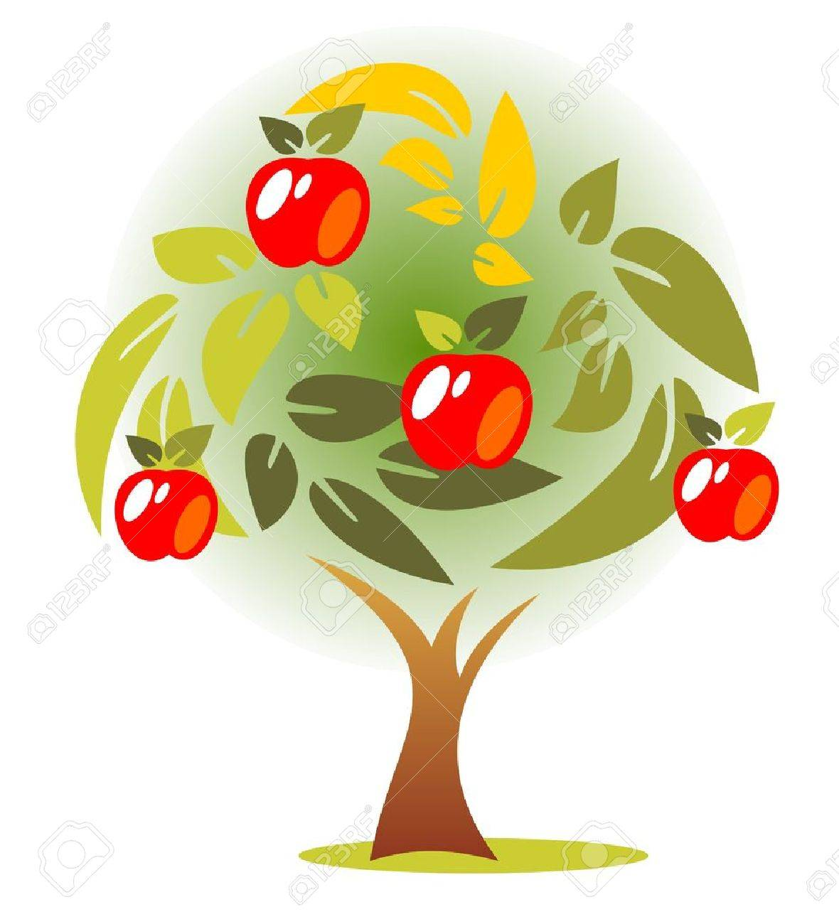 Stylized autumn apple tree on a green background.
