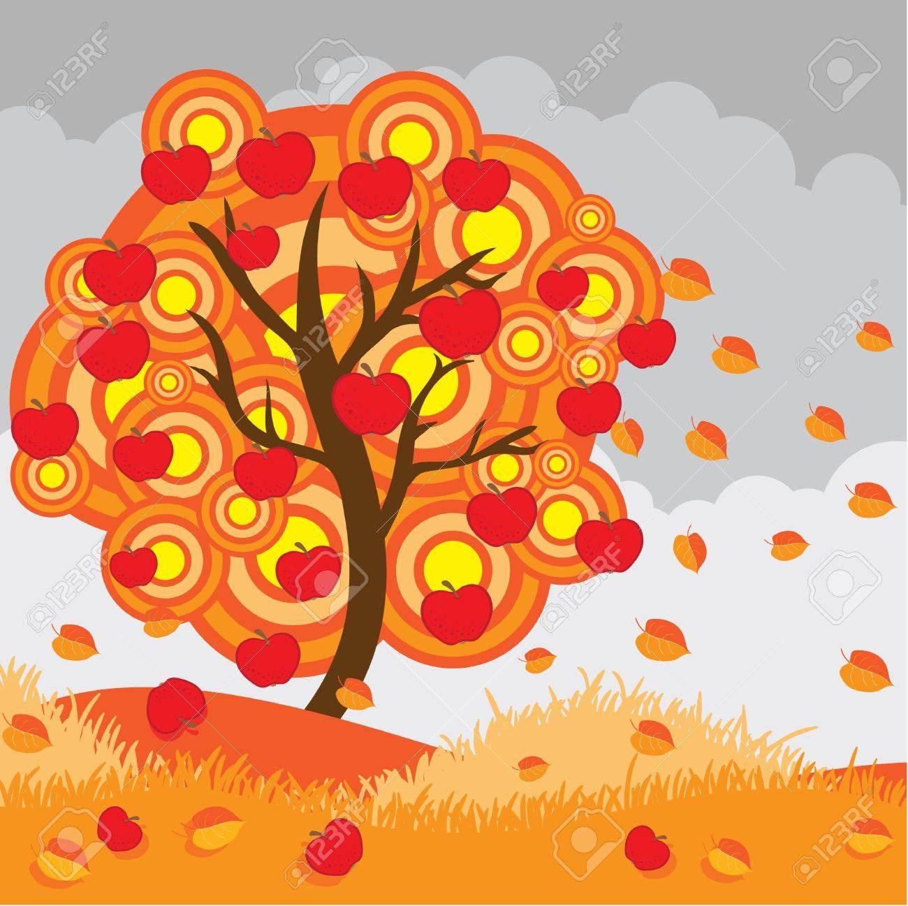 Autumn apple tree.