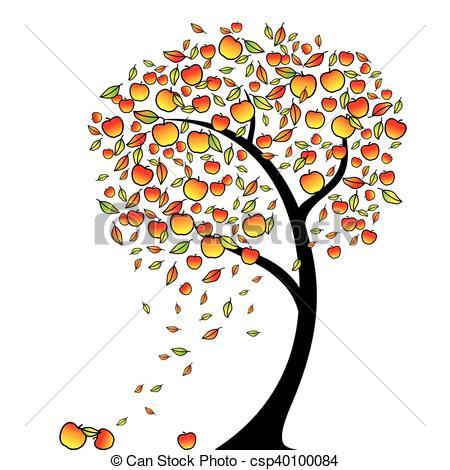 Apple tree in autumn, vector.