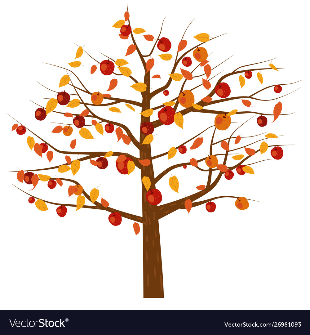 Autumn apple tree with red apple fruits and yellow.