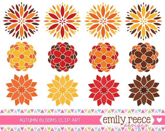 Fall Floral Arrangements Clip Art.