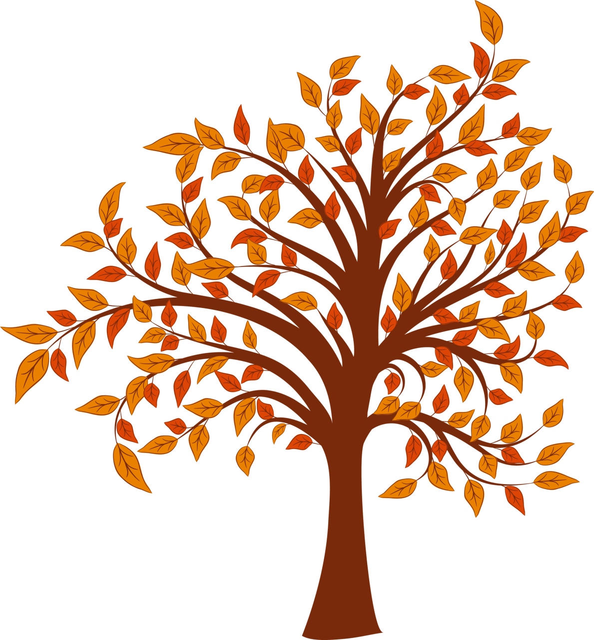 Autumn Cartoon Tree Clip art.