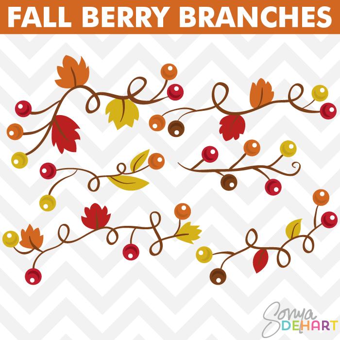 Fall berries clipart.