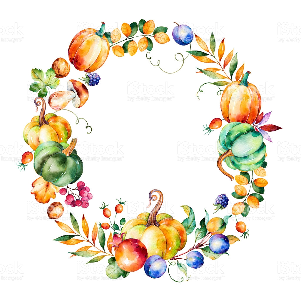 Colorful Autumn Wreath With Fall.