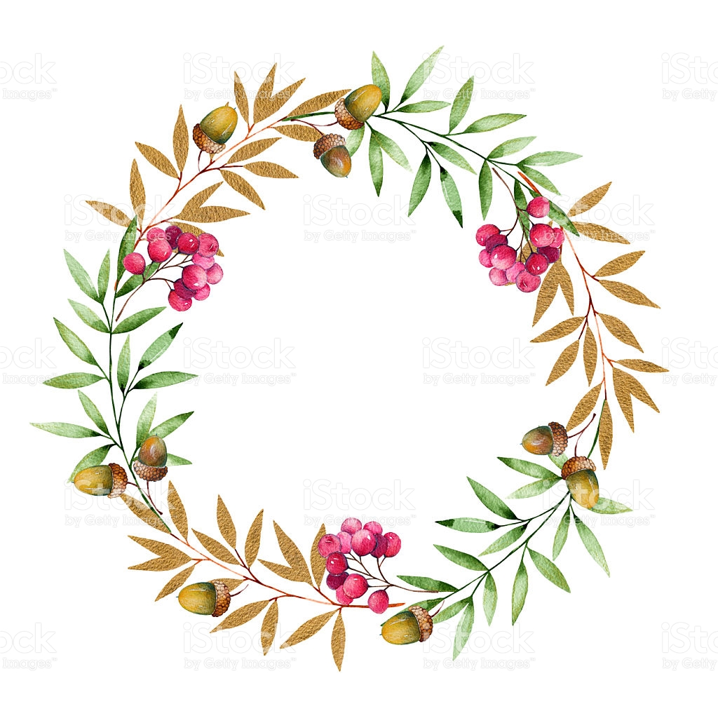 Colorful Autumn Wreath With Autumn Leavesgolden.