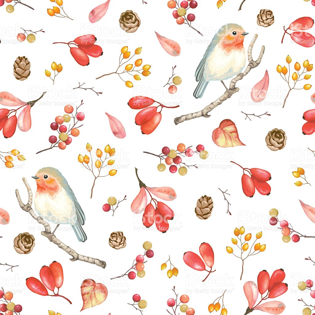 Seamless Autumn Pattern With Bird Robin Berries And Cones stock.