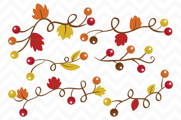 Clip Art Vector Fall Berry Vines ~ Illustrations on Creative Market.