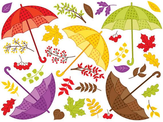 Fall Umbrella Clipart Digital Vector Autumn Berry by TanitaArt.