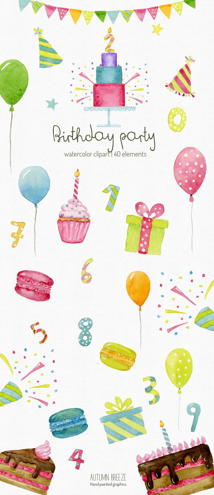 Watercolor birthday clipart, anniversary clipart, party.