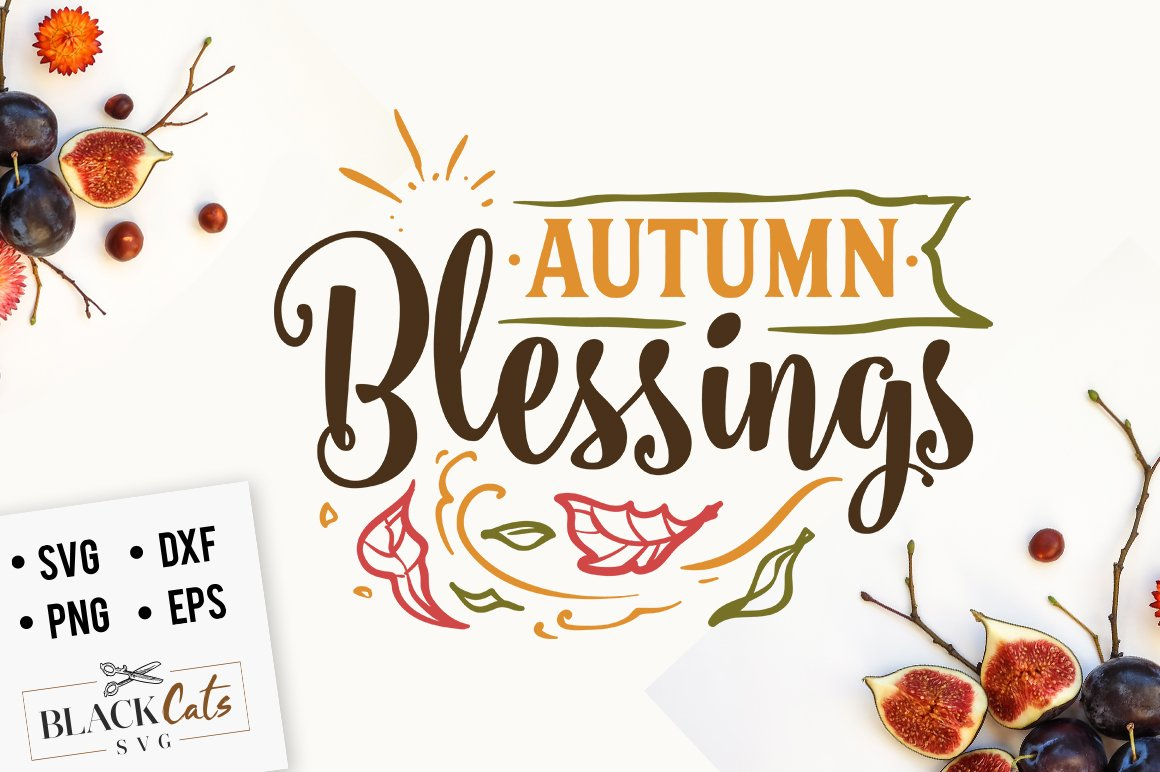 Autumn blessings SVG file Cutting File Clipart in Svg, Eps, Dxf, Png for  Cricut & Silhouette.