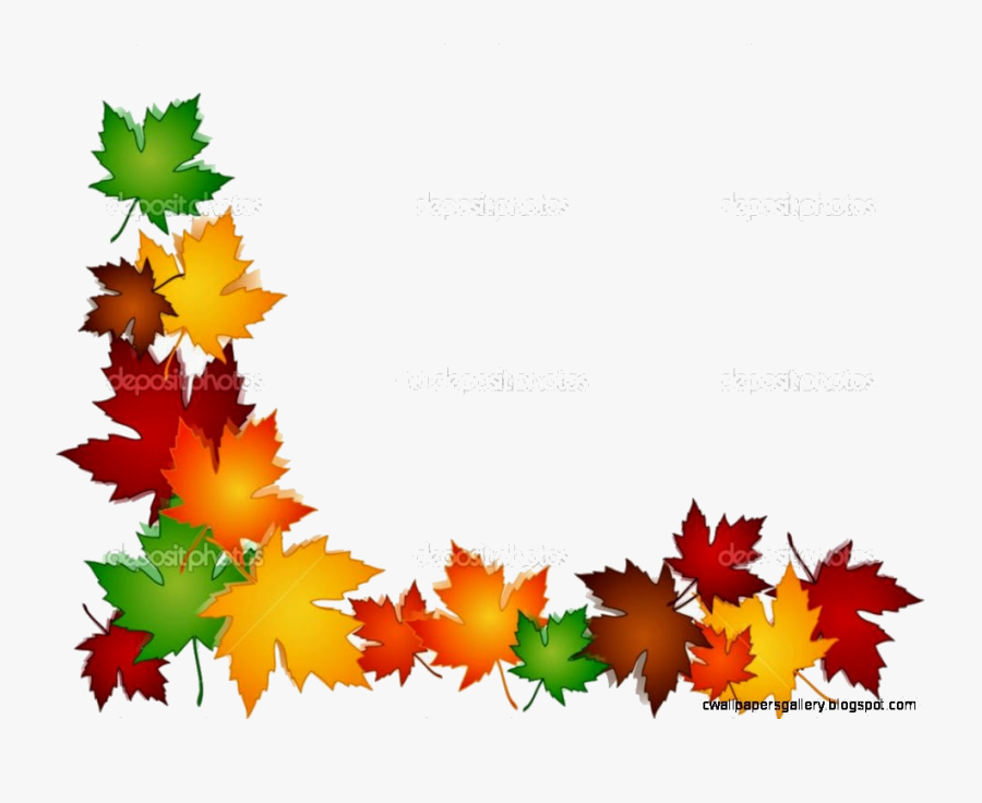 Transparent Fall Leaf Border Clipart.