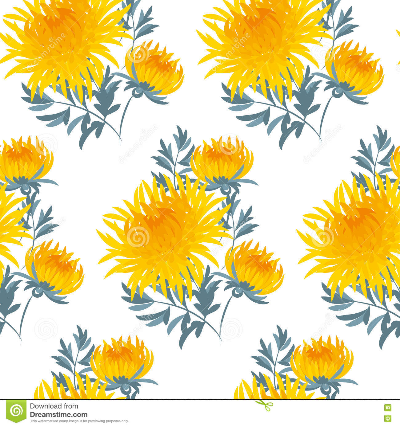 Fall Flower Seamless Pattern. Stock Vector.
