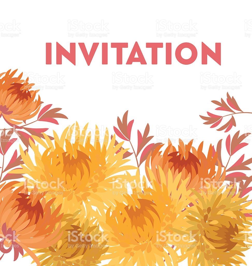 Yellow Autumn Chrysanthemum Flower Card Template stock vector art.