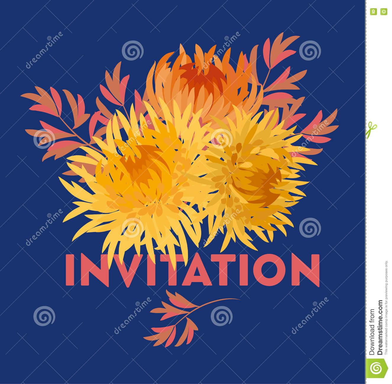 Yellow Autumn Chrysanthemum Flower Card Template. Golden.