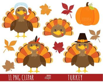 TURKEY clipart, THANKSGIVING clipart, commercial use, fall leaves, autumn,  cute.