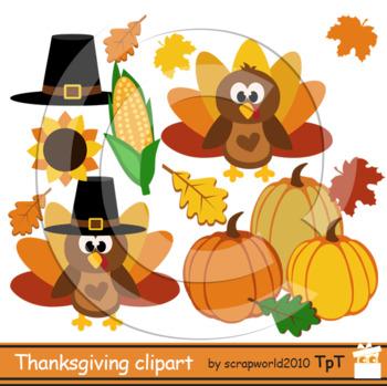 Thanksgiving clipart Turkey Day clipart autumn clip art+black white outline.
