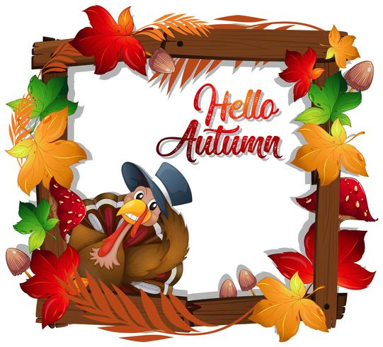 Happy autumn turkey wooden frame.