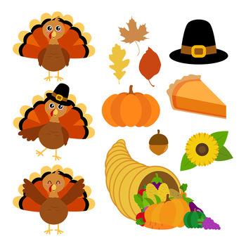 Thanksgiving Clipart, Turkey Clipart, Fall Clipart, Autumn Clipart.