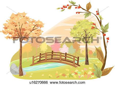 Stock Illustration of tree, river, bridge, lake, riverside, autumn.