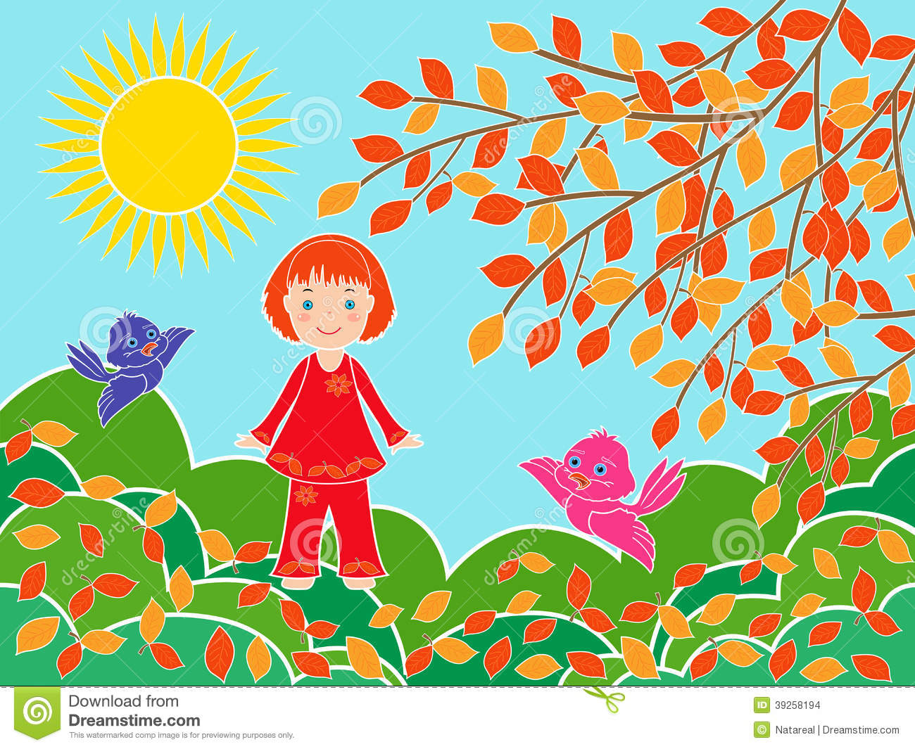 Small Girl In Sunny Autumn Day Royalty Free Stock Photo.