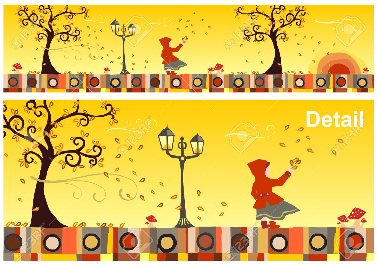 Girl With A Red Hood In A Windy Autumn Day. Vector Available.
