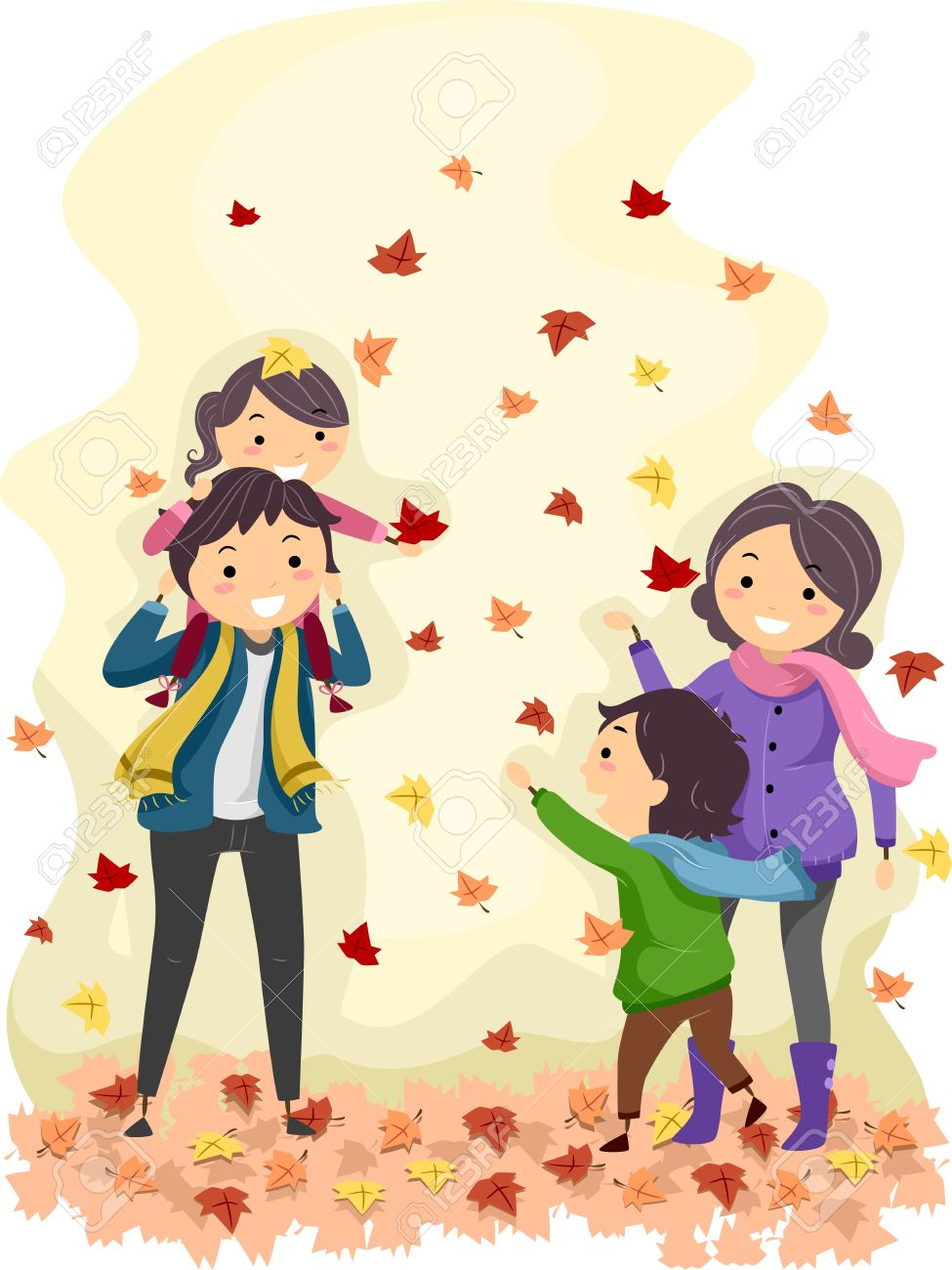 Illustration Of A Family Enjoying An Autumn Day Stock Photo.