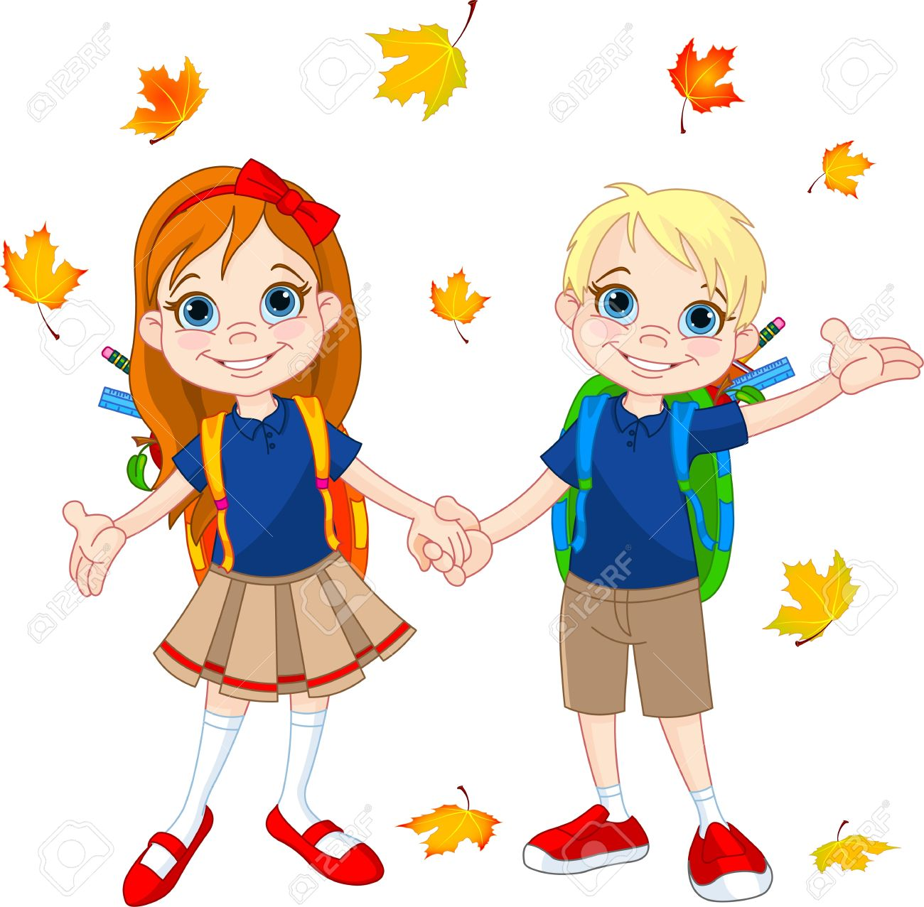 Boy And Girl Ready To School At Autumn Day Royalty Free Cliparts.