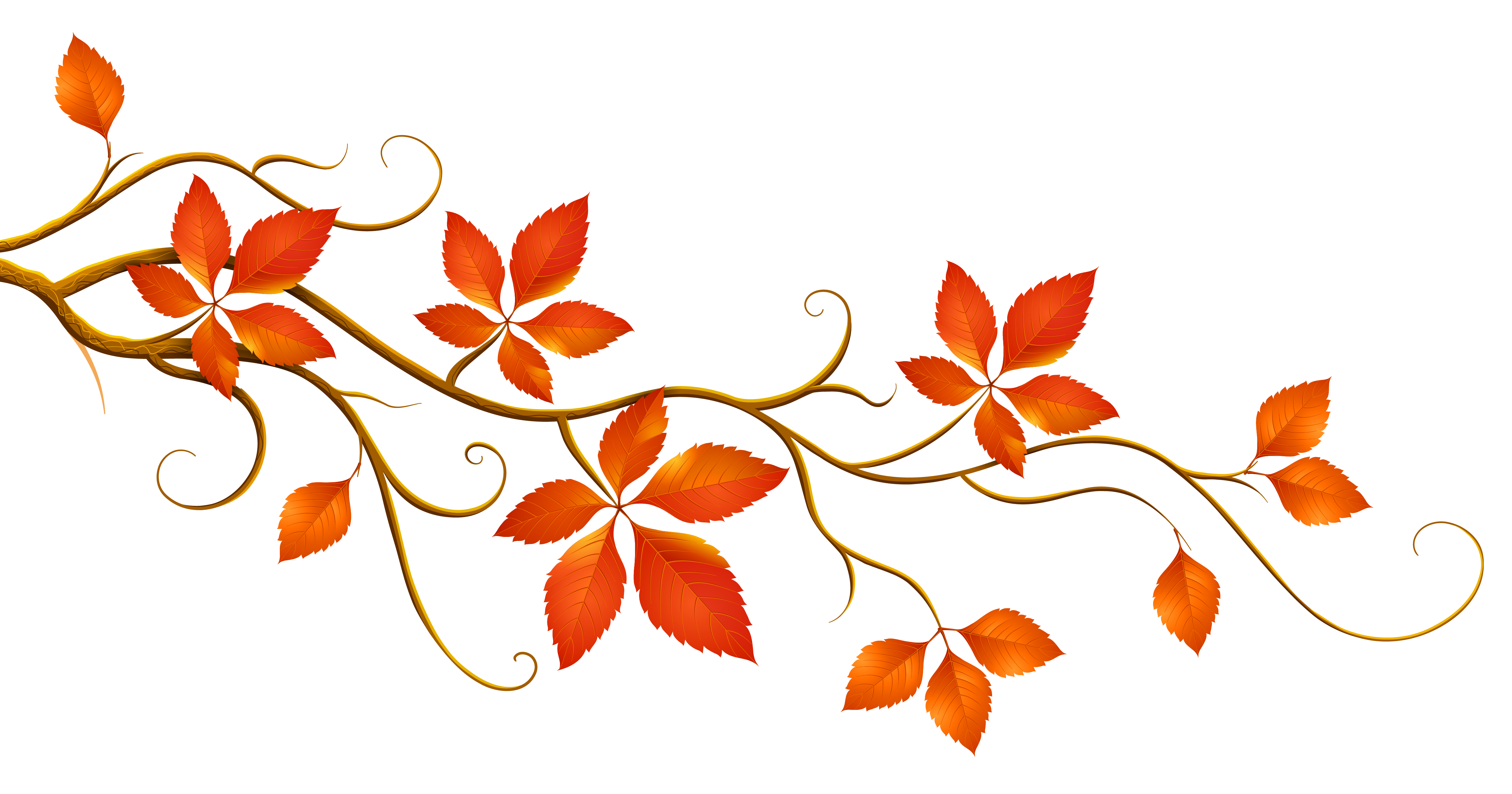 Decorative Branch with Autumn Leaves PNG Clipart.